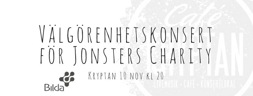 Kryptan 10 nov – Välgörenhetskonsert för Jonsters Charity
