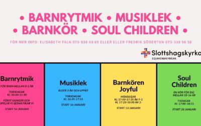 Barnkör – barnrytmik – musiklek – soul children